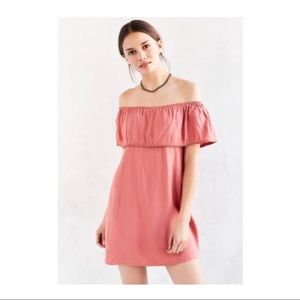 motel ruffle off the shoulder mini dress in blush